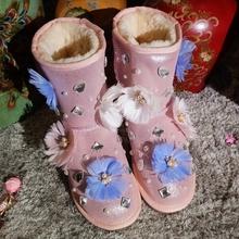 2016 de Invierno Flor de Plumas Mujeres Botas de Invierno Hecho A Mano Brillante Piedras Con Cuentas de Piel de Nieve Botas de Mujer Zapatos de Lujo(China (Mainland))