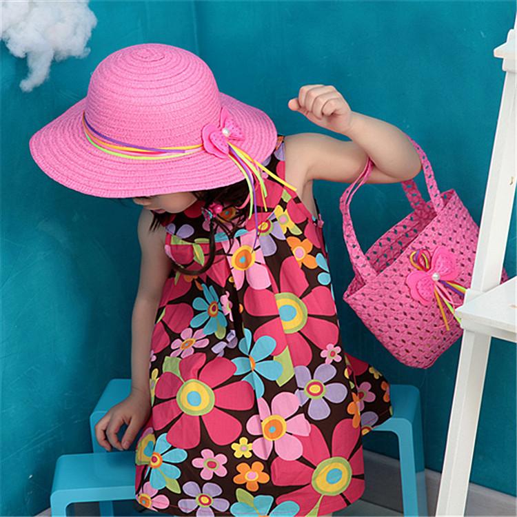 7pcs/lot 2015 mode strohhüte Sommer baby ohr dekoration schöne junge mädchen diskette sonnenhut solide kinder floppy strand kappe(China (Mainland))