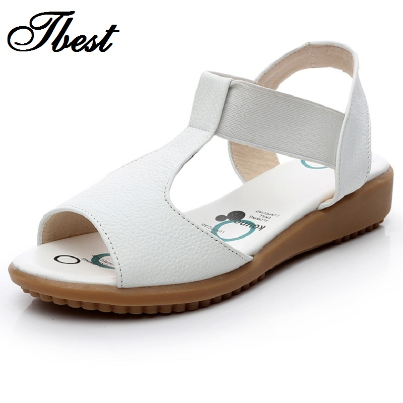 Creative AOKANG Women Sandals Genuine Leather Casual Wedges Platform Women