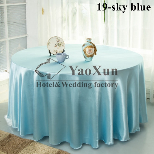 The Cheapest Price Sky Blue Color Wedding Tablecloth \ Satin Table Cloth(China (Mainland))