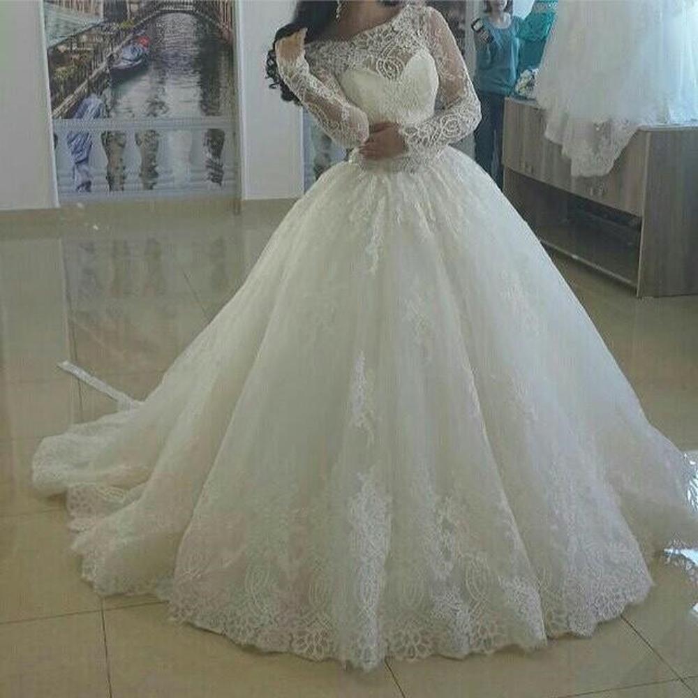 Закрытые свадебные платья пышные