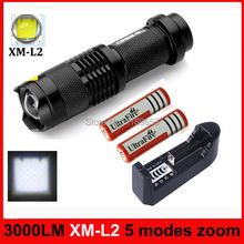 3000 Lumen CREE XM-L2 Cree led Torch Zoomable Cree Waterproof lantern LED tactical Flashlights Torch Light+18650 battery&charger(China (Mainland))