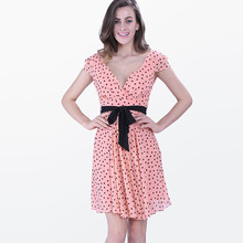 Buy Sisjuly women sexy cute dress summer polka dots pink women chiffon voile sexy party dress sexy halter sashes style cute dresses