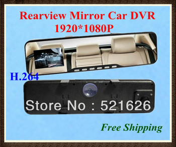 Free Shipping 2.7inch LCD screen Release Rear View Mirror Camera HD 1080P Car DVR Video camera motion detection H.264 +G-sensor