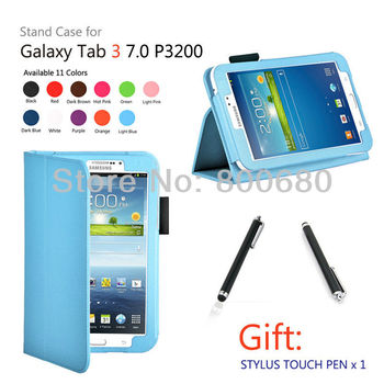 Galaxy Tab3  7.0 case + 1stylus touch pen for Gift, Leather case for Samsung Galaxy Tab3 7.0 T210,11 colors , free shipping