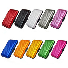 New Free Shipping Womens Mens Aluminum Metal Wallet Business ID Credit Card Case Stripe Box Holder Anti RFID Scanning(China (Mainland))