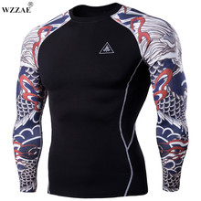 Buy WZZAE 3D Printed T-shirts Men Compression Shirt Men's MMA Tshirt Long Sleeve Quick dry Workout Bodybuilding Fitness Tops T shirt for $12.99 in AliExpress store