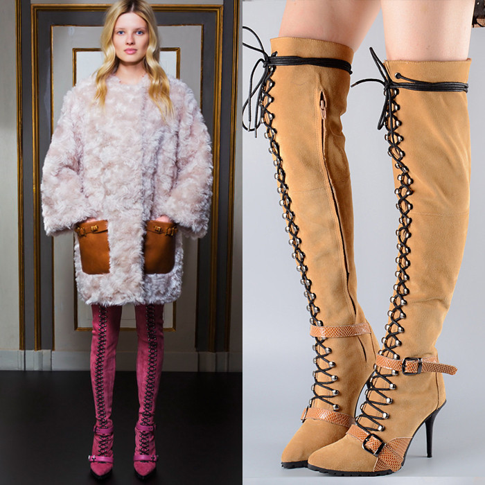 Lace up Thigh High Boots Over Knee High Women Boots High Heels Pumps Buckle Strap Botas Suede Leather Winter Boots Shoes Woman