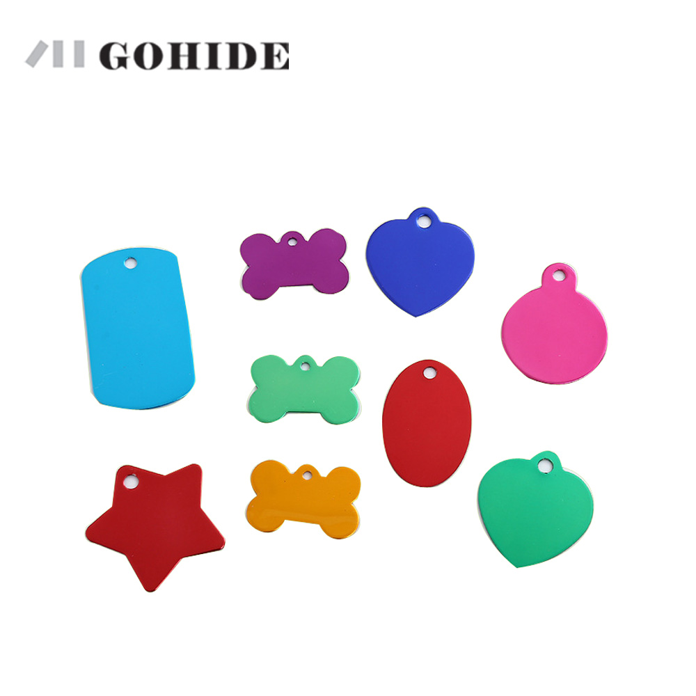 GOHIDE customized metal ID tags Aluminum Alloy dog bone shape color badge qualified aluminum blank customized pet accessories(China (Mainland))