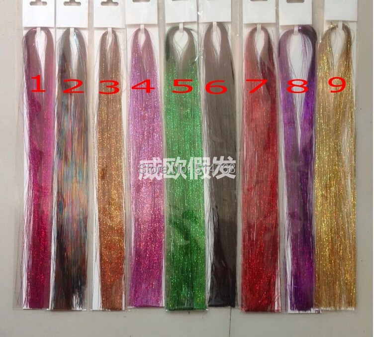 2016 NEW HAIR 20inch/50cm 600 strands 5packs Sparkle Glitter Twinkle Dazzle Tinsel Festival Hair Extensions  mix 9 Colors