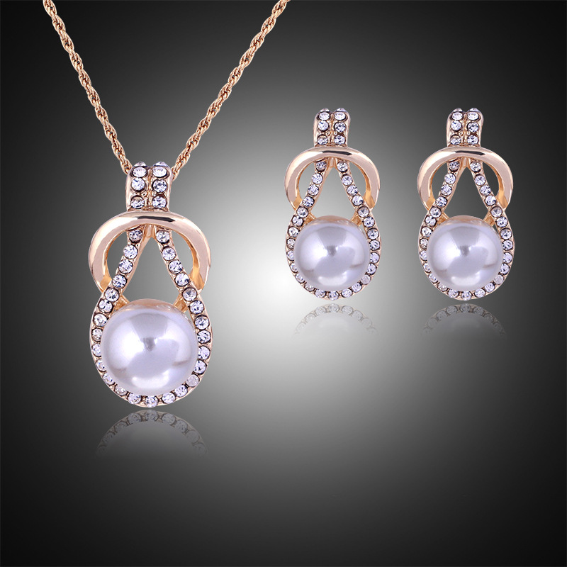 Woman plating silver gold chain necklace crystal earrings for Diamond pearl jewelry sets