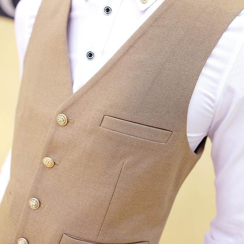 new 2016 Men fashion boutique cotton wedding dress suit vest  / Premium brand mens Pure color slim groom suit vest / Male vests