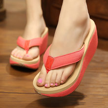 High Heels Sandals Women Platform Wedge Flip Flops Solid Women Summer Shoes Candy Colors Thick Crust