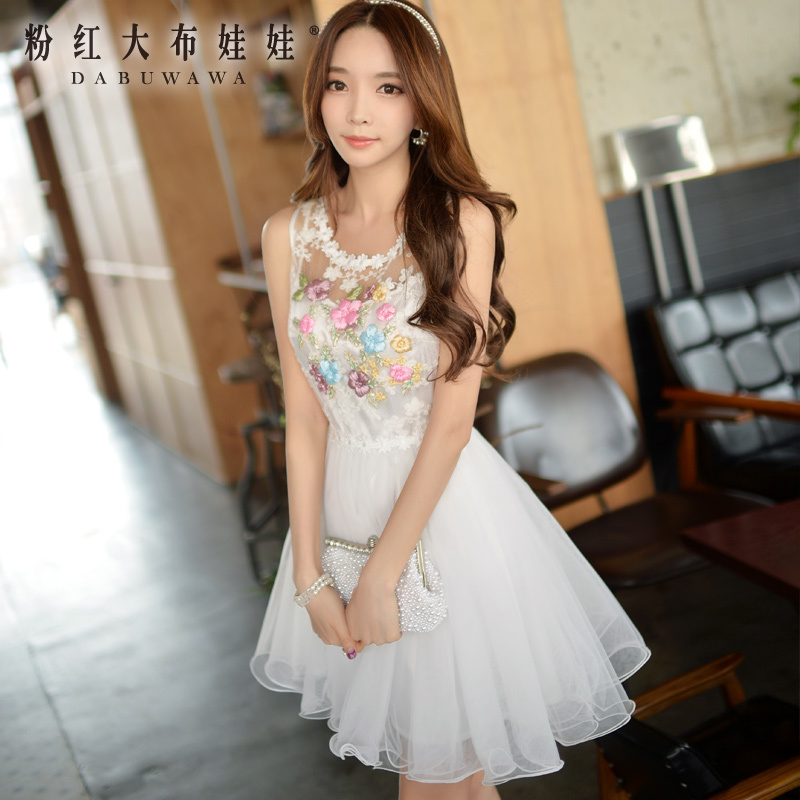 White dress with Pink Doll New Spring and summer 2015 summer Camisole fluffy lace dressОдежда и ак�е��уары<br><br><br>Aliexpress