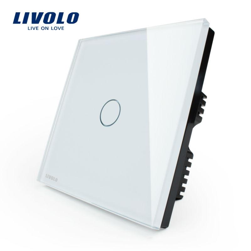 Wholesaler Livolo, Ivory White Crystal Glass Panel,VL-C301-61,UK Touch Lamp Switch/ Home Light Switch/ Wall Switch 1 Gang 1 Way(China (Mainland))