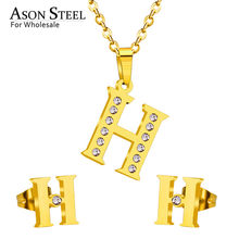 ASONSTEEL 2019 Alphabet Initial Wedding Bridal Zircon Jewelry Sets for Women Letter A-Z Necklace Pendants Small Stud Earring Set(China)