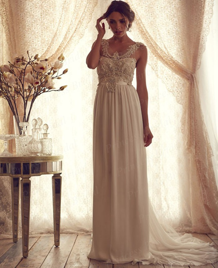 New hot sale bridal gown sheath v neck sweep train chiffon for Old wedding dresses for sale