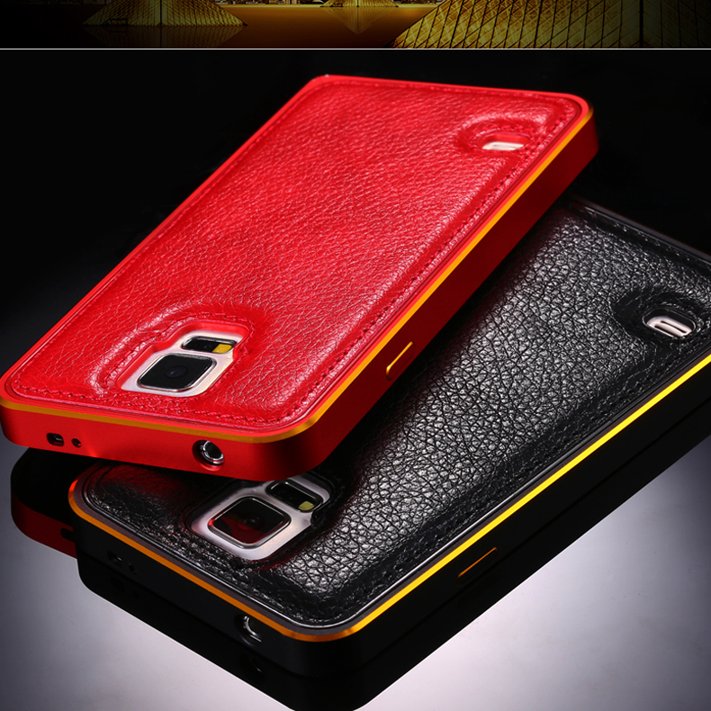 S5 Capa Cases Metal Aluminum Frame+ Flexible Leather Case For Samsung Galaxy S5 SV i9600 Ultra Slim Lychee Pattern Cover(China (Mainland))