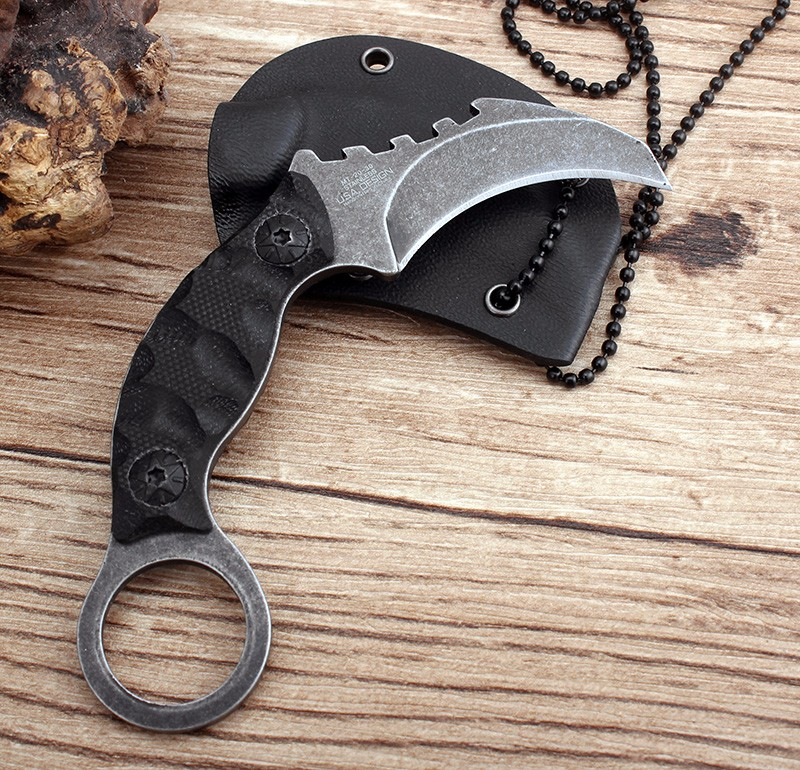 Buy Cool Handmade Hunting Karambit Knife 58HRC K sheath Counter Strike Fighting Survival Tactical Knife Claw Camping knives Tools cheap