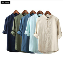 Mr.Young Men Linen Shirts Long Sleeve Chinese Style Mandarin Collar Traditional Kung Fu Tang Casual Social Shirt Brand Clothing - Mr. Young store