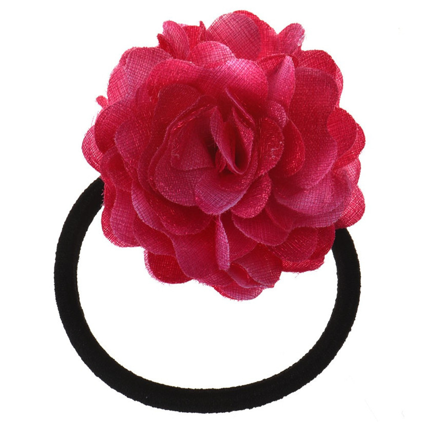 Newly Design Big Rose Flower Hair Rope Elastic Hair Bands Accessories Nice Gift July28(China (Mainland))