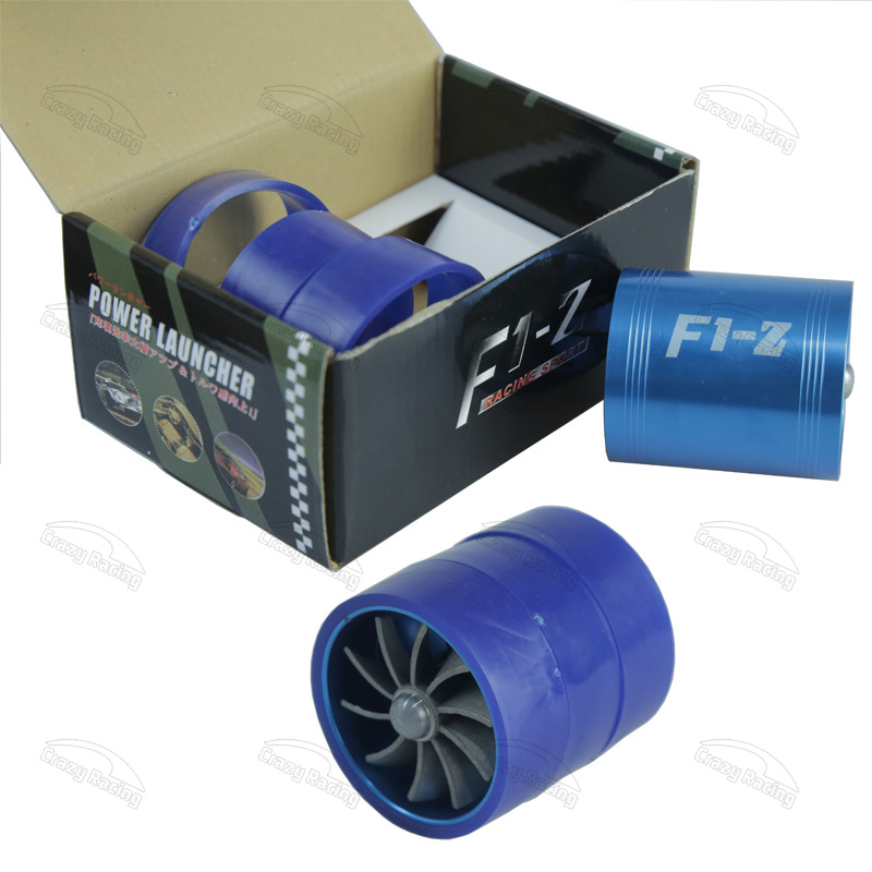 Hot! F1-Z Supercharger Turbo Air Intake Fuel Saver Fan w/ Double Propeller - Blue high quality