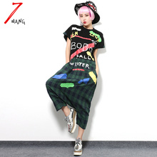 2016 summer spring women cute letter plaid print jumpsuit short sleeve loose casual novelty overalls