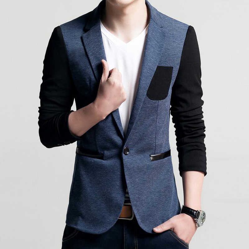 Mens Korean slim fit fashion cotton blazer Suit Jacket black blue beige plus size M to 5XL Male blazers Mens coat Wedding dress(China (Mainland))