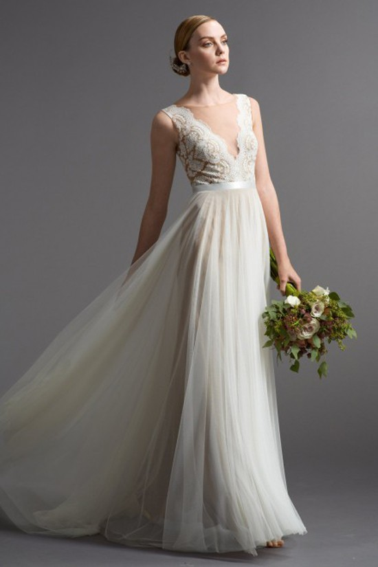 Vintage a line see through back long beach wedding dresses for Wedding dresses in louisville ky