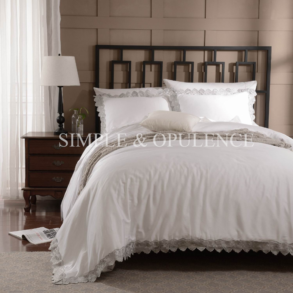100% cotton 400TC luxury Duvet Cover Set royal embroidered bedding with wedding lace including white quilt cover and pillowcase(China (Mainland))