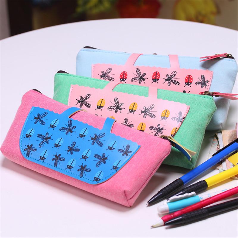 Korea creative canvas PU bag stationery stationery stitching  W2.85<br><br>Aliexpress