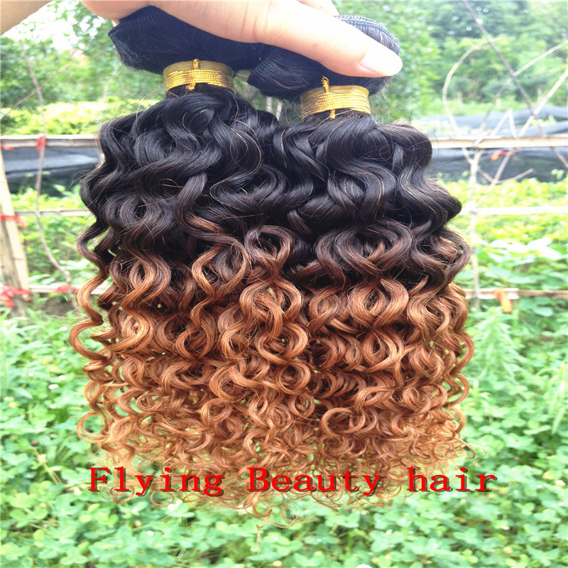 1b/30# Brazilian ombre hair extensions two tone human brizilian virgin weave Jerry curly 3/lot - Flying Beauty Hair Products Co.,Ltd store