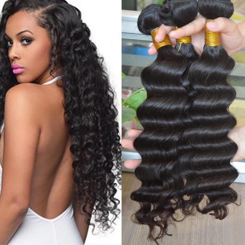 Гаджет  5A Grade Brazilian Deep Wave Virgin Hair Brazilian Deep Curly Virgin Hair Human Hair Weave 1pc lot Natural Black Free shipping None Волосы и аксессуары