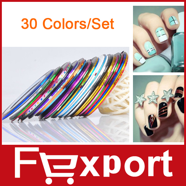 30 Colors Rolls Striping Tape Line Nail Art Sticker Tools Beauty Decorations for on Nail Stickers,455(China (Mainland))