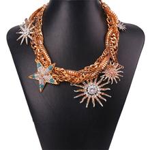 Joyería famosa marca de lujo de múltiples capas accesorios bohemia rhinestone choker collar de la vendimia de Girasol y pentagrama(China (Mainland))