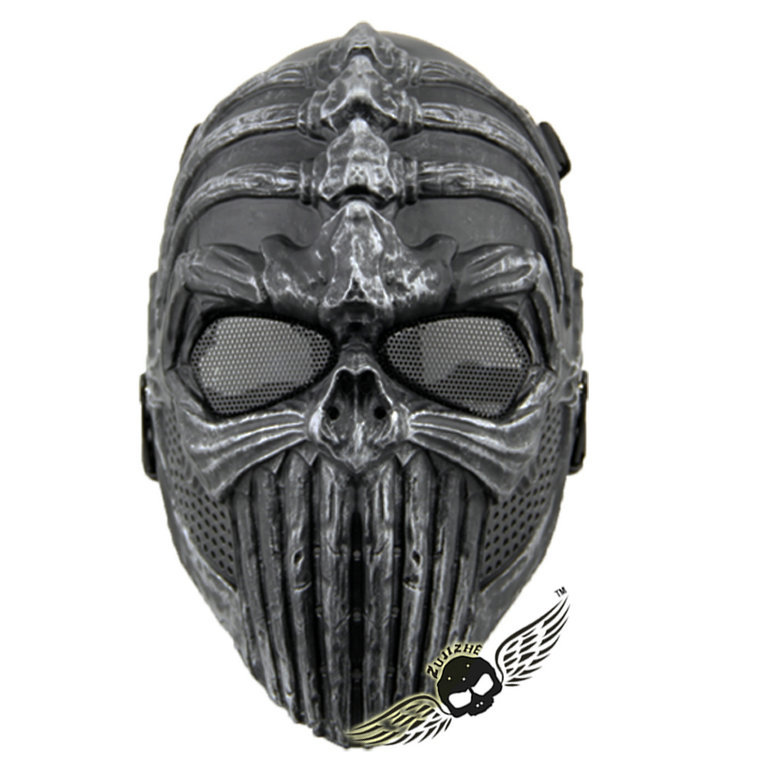 Tactical Spine Tingler Skull Skeleton Army Airsoft Paintball Gun Full Face Game Protect Safe Mask Silver Black - Ann Huang's store