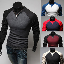 2015 Men'S Fashion Stitching Round Neck Long-Sleeved Slim Sweaters, Pull Homme Man Designer Slim Pullover M ~ XXXL 5 Colors(China (Mainland))