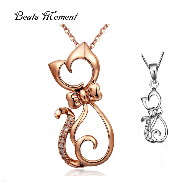 925 sterling silver Beats Moment over $10 free shipping female pendant pure silver CZ diamond fashion cat pendant necklace<br><br>Aliexpress