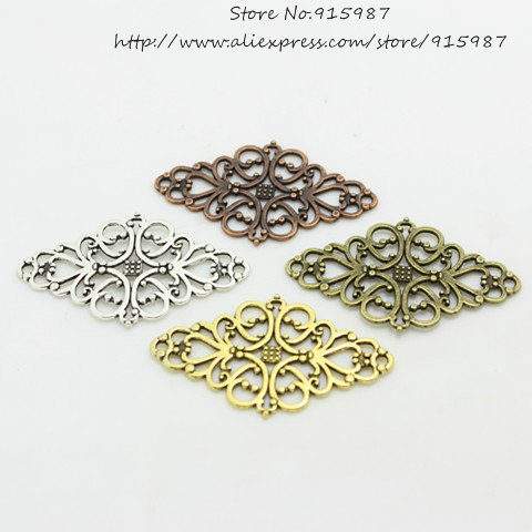 Гаджет  30pcs/lot Hollow Filigree Flower Charm Jewelry Connectors 24*41mm Vintage Filigree Jewelry Findings D0432 None Ювелирные изделия и часы