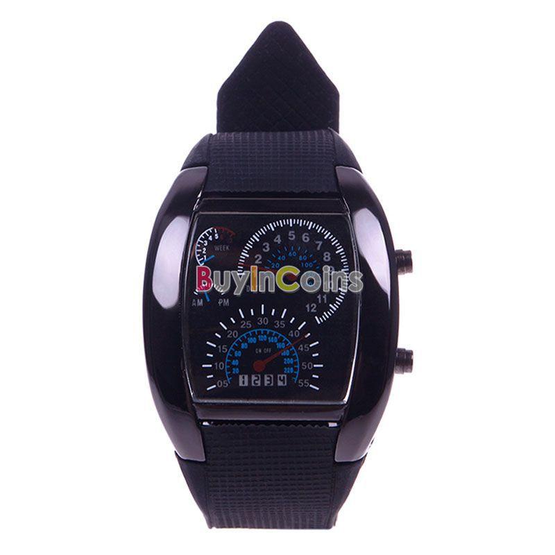 RPM Turbo Flash White-Blue LED Light Car Meter Watch Men's Wristwatch US AS #52066(China (Mainland))