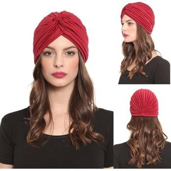 Fashion Indian Unisex Head Wrap Cap women turban Bandana Hijab indian caps Cloche Hair Cover Pleated Hat red blue black white(China (Mainland))