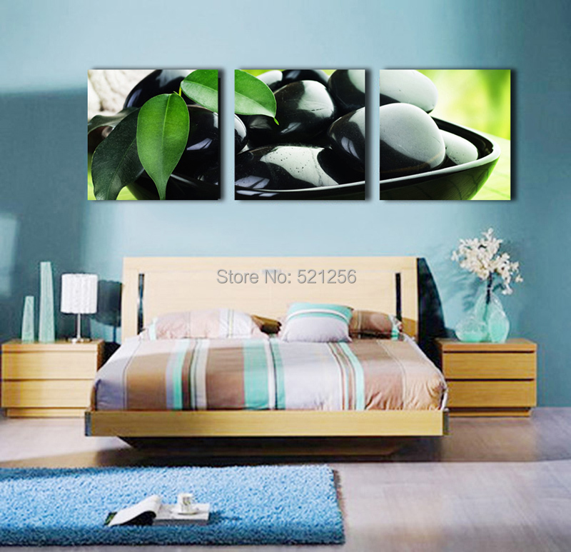 Modern Wall Art Home Decoration Printed Oil Painting Pictures Canvas Prints No Frame 3 Piece Black Stones Beauty Salon Arts(China (Mainland))