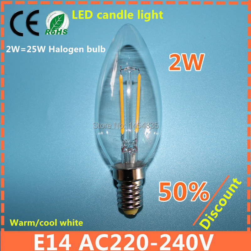 High Brightness 2W 4W E14 LED Candle glass Light AC220-240V Cold/Warm White 360 Degree Vintage chandeliers lamp Free Shipping(China (Mainland))