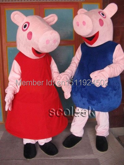 Red pig mascot costume for adult fancy dress charactor party mascot costume Free shipping