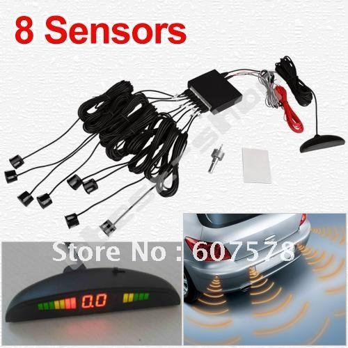 Car LED Parking Reverse Backup Radar 8 Sensor System