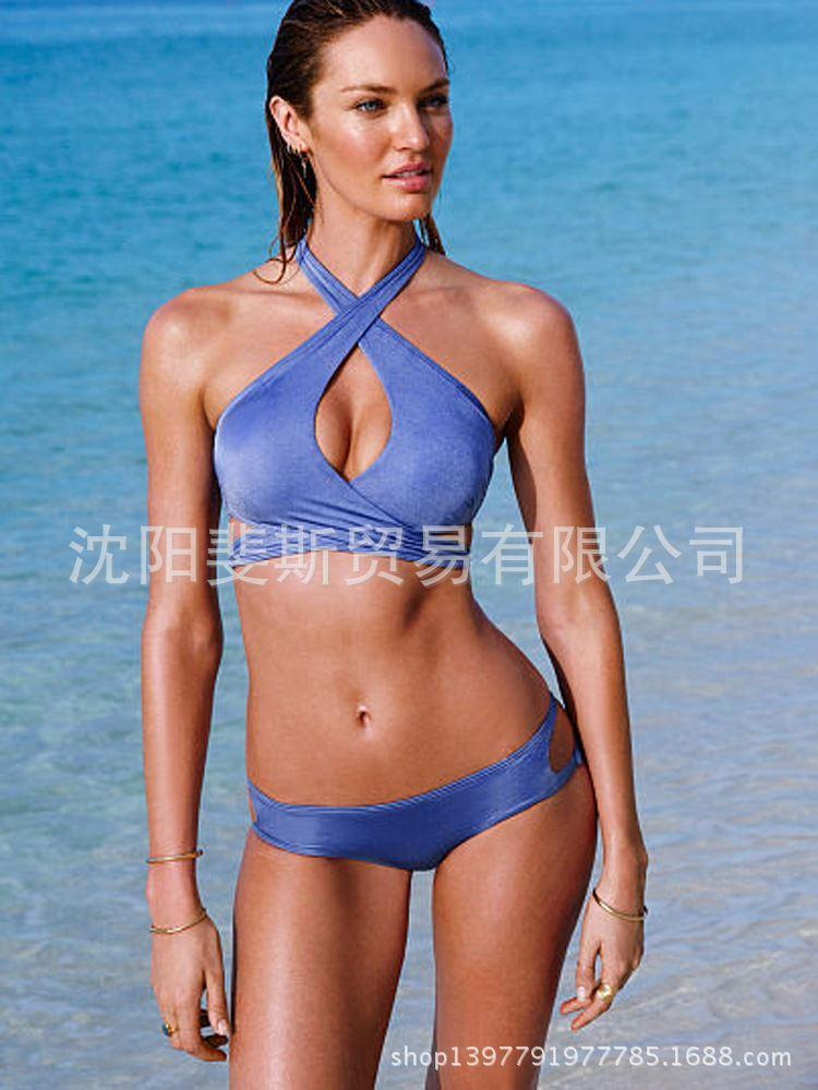 Manufacturers selling wholesale 2015 split swimsuit solid color strap bikini swimwear female big chest was thin in Europe and Am(China (Mainland))