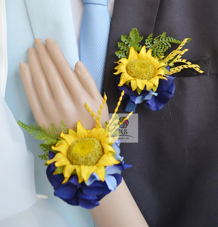 Free shipping yellow royal blue silk sunflower wedding wrist corsage flowers party corsages prom(China (Mainland))