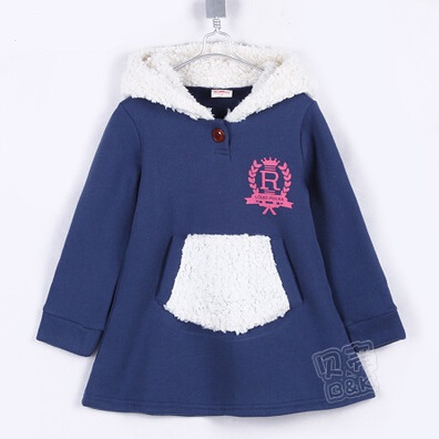 2015 autumn and winter princess girls clothing baby child fleece with a hood sweatshirt outerwear A0180(China (Mainland))