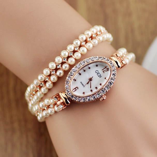 Pearl Bracelet Watches Bracelet Dress Watches