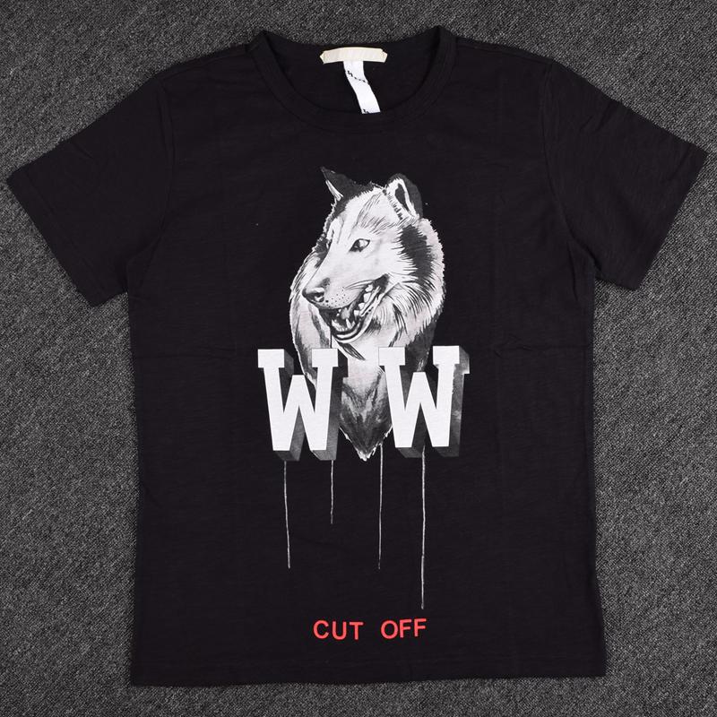 2016 Fashion off white brand mens Langtou pattern printing t-shirt tops hip hop men cotton tshirts brand clothing animal wolf(China (Mainland))